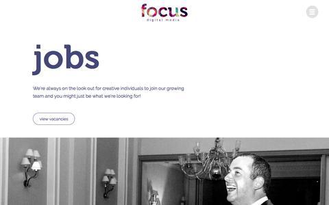 Screenshot of Jobs Page focus-dm.co.uk captured June 11, 2016