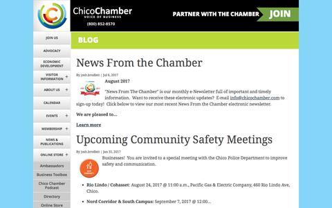 Screenshot of Blog chicochamber.com - Chamber News   Chico Chamber of Commerce - captured Jan. 6, 2018