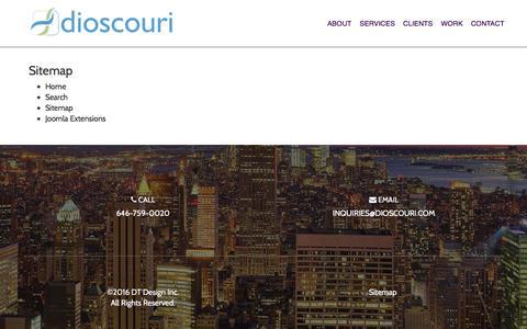 Screenshot of Site Map Page dioscouri.com - Sitemap | Dioscouri - captured Feb. 9, 2016