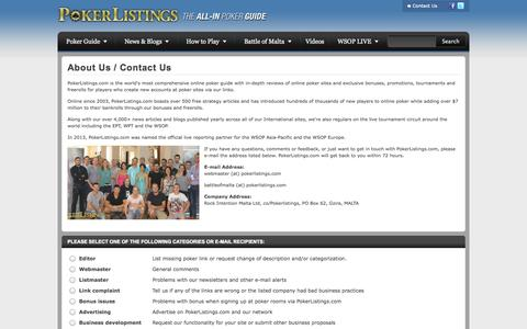 Screenshot of Contact Page pokerlistings.com - Contact Us - PokerListings.com - captured Sept. 18, 2014