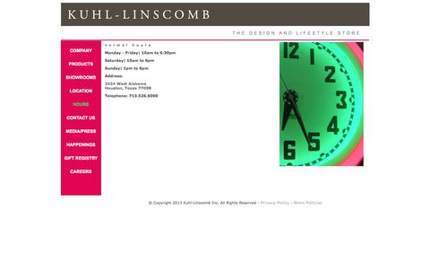 Screenshot of Hours Page kuhl-linscomb.com - Welcome to Kuhl-Linscomb - Modern Furniture, Gifts, Apothecary -Gift Registry - captured Sept. 30, 2014