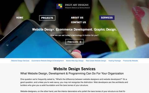 Screenshot of Services Page digitartdesigns.com - Website Design Development Services Vancouver, Port, Moody, Coquitlam - captured Feb. 27, 2017