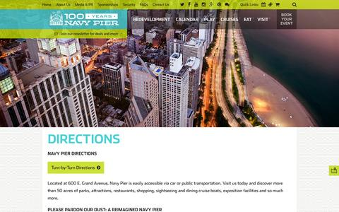 Screenshot of Maps & Directions Page navypier.com - Navy Pier Directions | Navy Pier - captured May 22, 2016