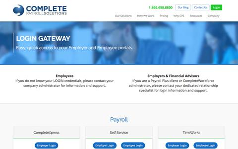 Screenshot of Login Page completepayrollsolutions.com - Login Portal - Complete Payroll Solutions: HR & Payroll Services & Benefits - captured July 15, 2016