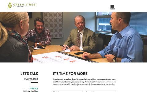 Screenshot of Contact Page greenstreetstl.com - Contact   St. Louis Real Estate Firm   Green Street - captured Feb. 1, 2016