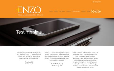 Screenshot of Testimonials Page enzoadvisors.co.nz - TESTIMONIALS | Enzo Advisors - captured Sept. 28, 2018