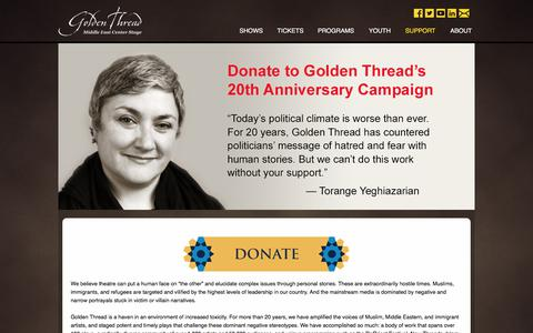 Screenshot of Support Page goldenthread.org - Golden Thread Productions - captured Aug. 18, 2017