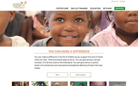 Screenshot of Support Page godsvisionforhaiti.org - Support •  God's Vision for Haiti - captured May 21, 2017