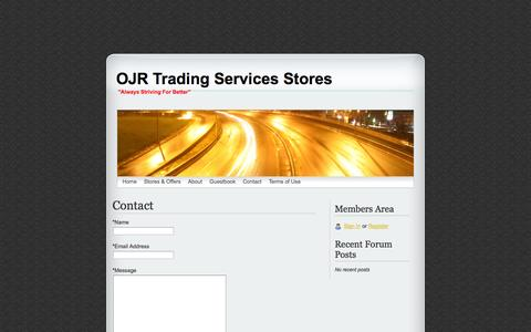 Screenshot of Contact Page webs.com - Contact - OJR Trading Services Stores - captured Sept. 13, 2014