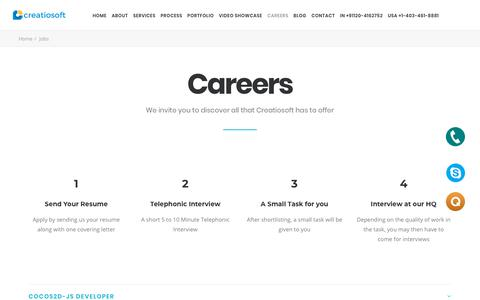 Screenshot of Jobs Page creatiosoft.com - Career Opportunities - Creatiosoft Solutions Private Limited - captured Sept. 23, 2018