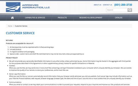 Screenshot of Support Page approvedaeronautics.com - Approved Aeronautics -  Customer Service - captured Feb. 5, 2016