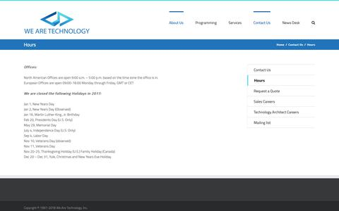Screenshot of Hours Page wearetechnology.com captured Oct. 18, 2018