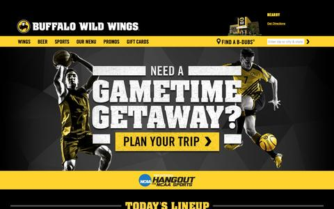 Screenshot of Home Page buffalowildwings.com - Buffalo Wild Wings® | Wings. Beer. Sports. - captured May 1, 2016