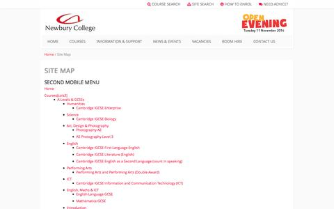 Screenshot of Site Map Page newbury-college.ac.uk - Newbury College - Site Map - captured Oct. 7, 2014