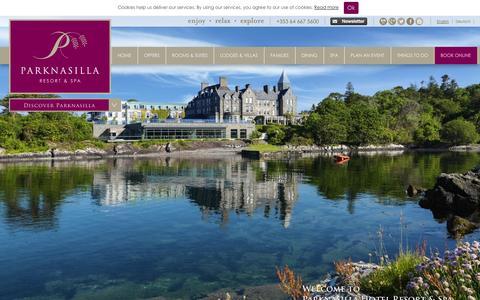 Screenshot of Home Page parknasillaresort.com - Luxury Hotels Kerry   Hotels in Kerry   Parknasilla Hotel Kerry - captured Oct. 1, 2014