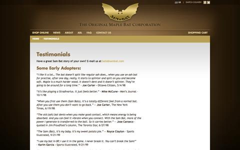 Screenshot of Testimonials Page sambat.com - Testimonials   SAM BAT - The Original Maple Bat CorporationSAM BAT – The Original Maple Bat Corporation - captured Oct. 4, 2014