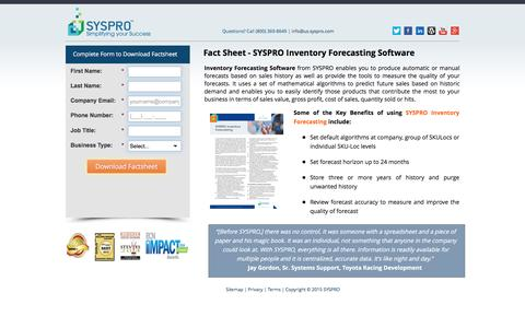 Screenshot of Landing Page syspro.com - SYSPRO Inventory Forecasting Software - captured March 17, 2016