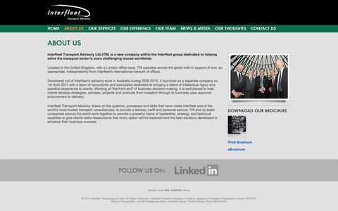 Screenshot of About Page transportadvisory.com - Interfleet Transport Advisory :: About Us - captured Oct. 6, 2014