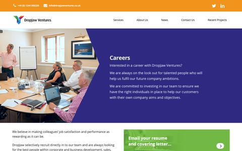 Screenshot of Jobs Page dropjawventures.co.uk - About Us | Career Opportunities At DropJaw Ventures | DropJaw Ventures - captured Oct. 9, 2018