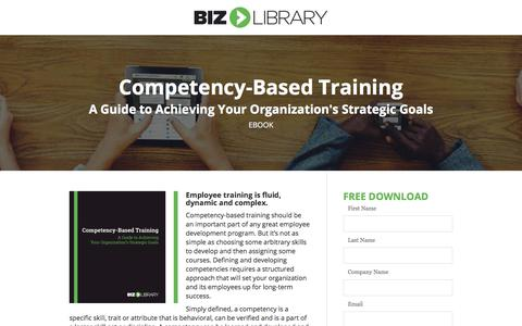 Screenshot of Landing Page bizlibrary.com - Competency Based Training [eBook] - captured April 21, 2018