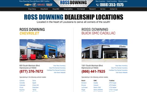 Screenshot of Contact Page Locations Page rossdowning.com - GM Dealerships in Hammond, Louisiana - captured Jan. 18, 2017