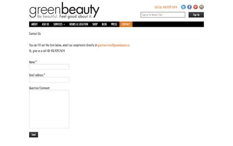 Screenshot of Contact Page greenbeauty.ca - Contact Us   Green Beauty. Be Beautiful. Feel Good About It. - captured Sept. 30, 2014