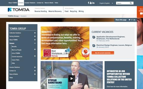 Screenshot of Jobs Page tomra.com - Careers at TOMRA: Join us in Leading the Resource Revolution! Working at : TOMRA - captured Feb. 1, 2018
