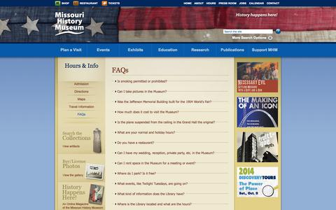 Screenshot of FAQ Page mohistory.org - FAQs | Missouri History Museum - captured Sept. 19, 2014