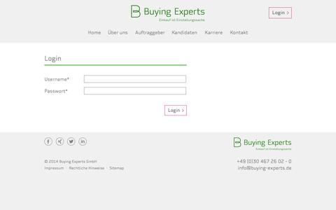 Screenshot of Login Page buying-experts.de - Login - Buying Experts Germany - captured Oct. 5, 2014