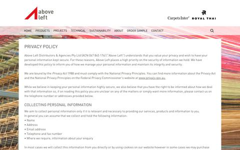 Screenshot of Privacy Page aboveleft.com.au - Privacy Policy - captured July 28, 2018