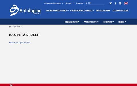 Screenshot of Login Page antidoping.no - login | Antidoping Norge - captured Oct. 4, 2014