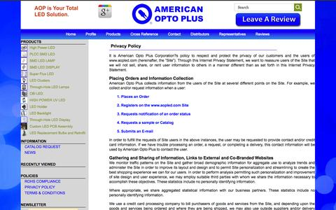 Screenshot of Privacy Page aopled.com - Privacy Policy - captured Oct. 27, 2014