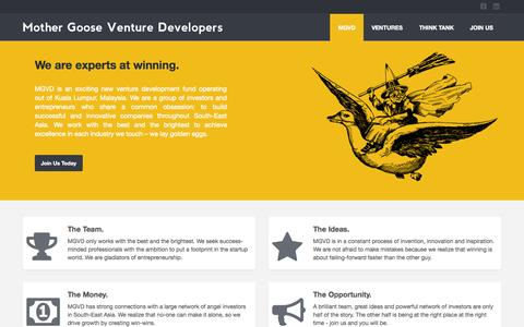Screenshot of Home Page mgvd.co - Mother Goose Venture Developers - captured Sept. 22, 2015