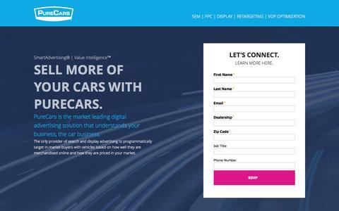 Screenshot of Landing Page purecars.com - PureCars | SEM, PPC, Display for Automotive Advertising and Digital Marketing - captured Oct. 29, 2016