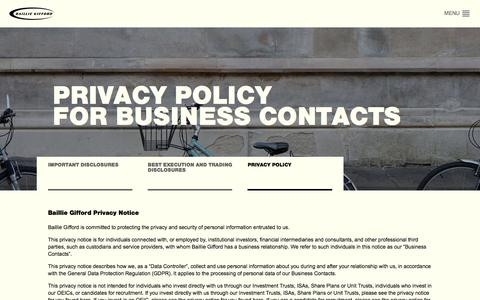 Screenshot of Privacy Page bailliegifford.com - Privacy Policy for Business Contacts | About Us | Baillie Gifford - captured Aug. 1, 2018