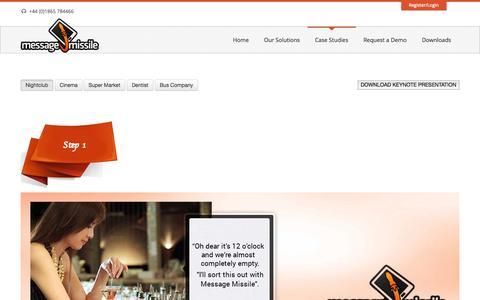 Screenshot of Case Studies Page messagemissile.com - Message Missile | Case Studies - captured Sept. 16, 2014