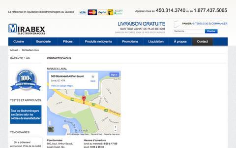 Screenshot of Contact Page mirabex.com - Liquidation de Contactez-nous | Mirabex - captured Oct. 2, 2014
