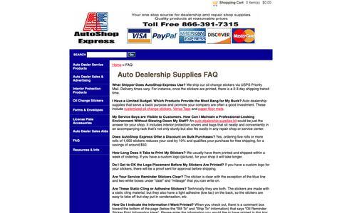 Screenshot of FAQ Page autoshopexpress.com - Auto Dealership Supplies FAQ   AutoShop Express - captured Nov. 6, 2018