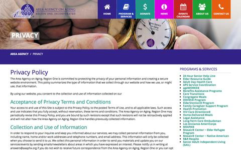 Screenshot of Privacy Page aaaphx.org - Privacy - Area Agency - captured Nov. 2, 2014