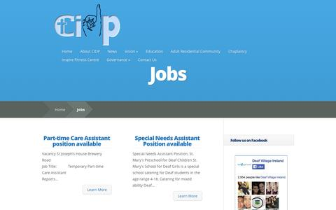Screenshot of Jobs Page cidp.ie - Jobs | Catholic Institute for Deaf People - captured Oct. 26, 2014