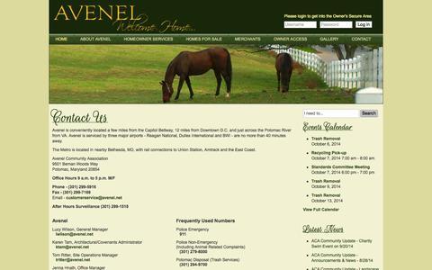 Screenshot of Contact Page avenel.net - Avenel Community Association - Avenel Community Association - captured Oct. 4, 2014