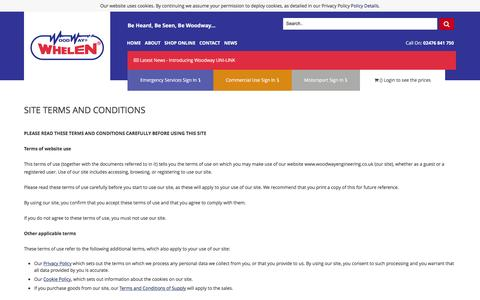Screenshot of Terms Page woodwayengineering.co.uk - Site Terms and Conditions - captured Feb. 26, 2016