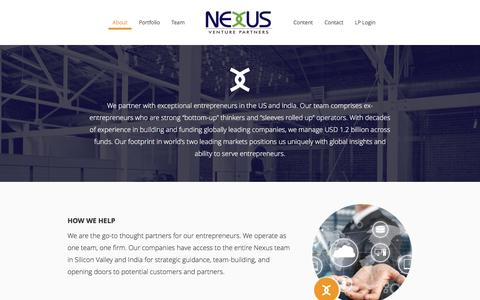 Screenshot of About Page nexusvp.com - About Nexus – Nexus Venture Partners - captured Sept. 16, 2016