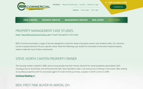 Screenshot of Case Studies Page remcommercial.com - Property Management Case Studies from REM Commercial - captured Feb. 26, 2016