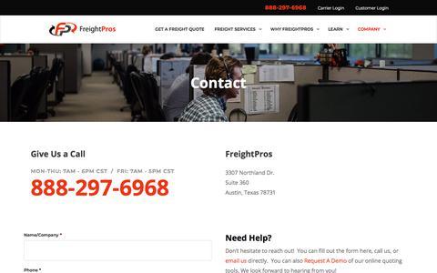 Screenshot of Contact Page freightpros.com - Contact | FreightPros - captured Aug. 12, 2018