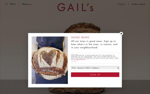 Screenshot of Home Page gailsbread.co.uk - GAIL's Bakery | London's Bread - captured Sept. 25, 2018