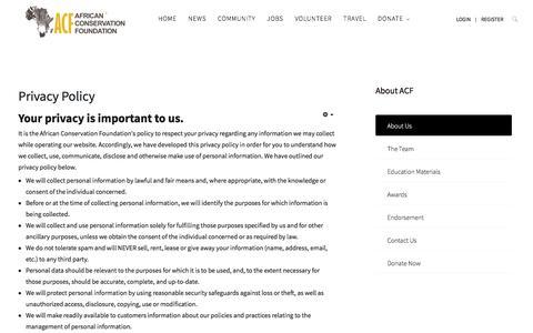 Screenshot of Privacy Page africanconservation.org - Privacy Policy - African Conservation Foundation - captured June 28, 2017