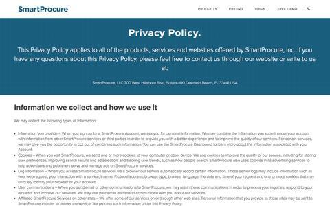 Screenshot of Privacy Page smartprocure.us - Privacy | SmartProcure - captured Dec. 4, 2015