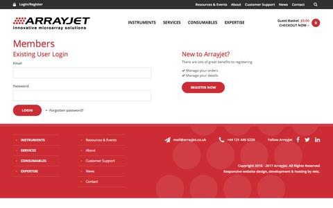 Screenshot of Login Page arrayjet.co.uk - Login | User Account | Arrayjet - captured Oct. 8, 2017