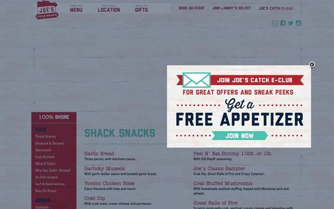 Screenshot of Menu Page joescrabshack.com - Joe's Crab Shack - captured Nov. 6, 2018